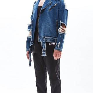 Damaged denim biker jacket