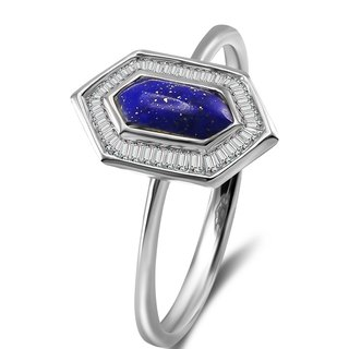 Hexagonal Shape Lapis Diamond Ring