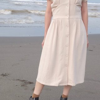 Bella Dress - Beige Linen V-Neck Front Buckle Wrinkle Midi Dress