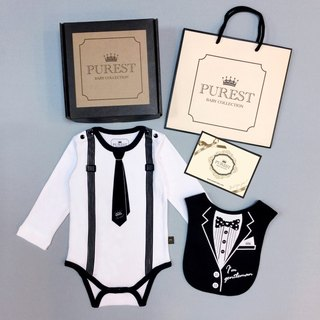 PUREST small gentleman long sleeve tie dress + suit pocket / gift box group / baby moon / birthday / gift preferred