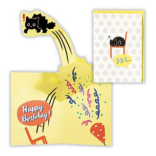 Surprised cat jumped up [Hallmark-three-dimensional card birthday blessing]