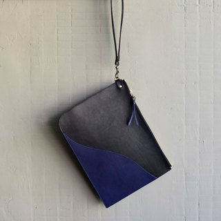 [Night Waves] Imported Leather Clutch Bag Black Blue Leather
