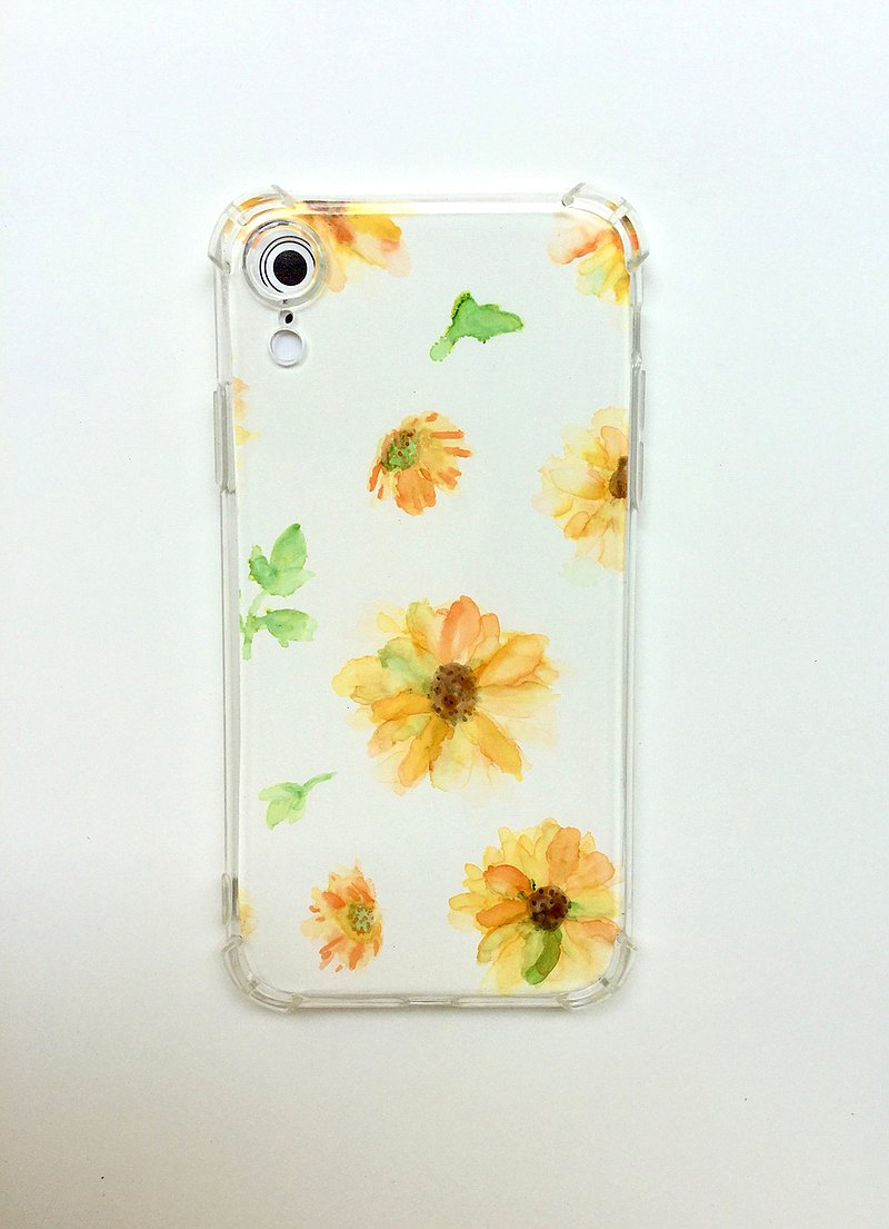 Daisy IPhone XR alcohol ink hand-painted back shell anti-fall / anti-scratch phone case