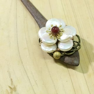 Tung Kee Ling set decoration - pull Tianhua} {heavy plum flower wenge pearl hairpin hairpin hair plug hairpin bone