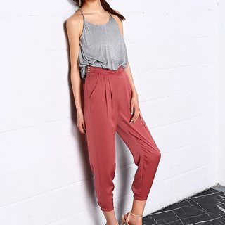 Banquet High Waist pants In Light Red
