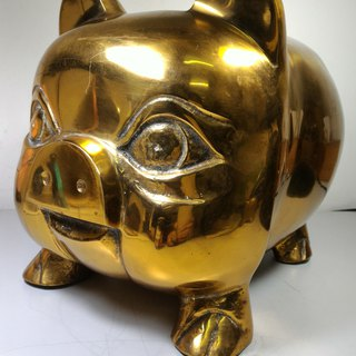 Early old collection industrial wind old copper pig full of money piggy bank lucky gas lucky pig Feng Shui ornaments (large)