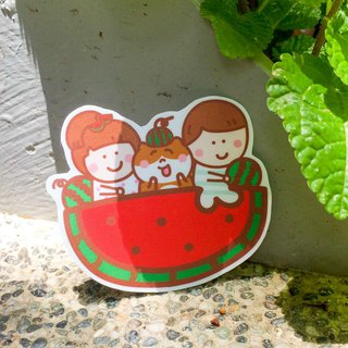 Watermelon cat boat waterproof stickers (luggage box / laptop application) Waterproof stickers