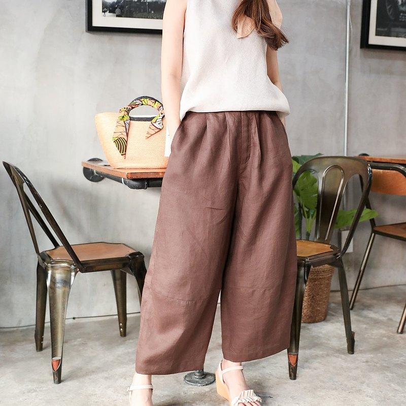 下擺天然麻褲子-巧克力棕色