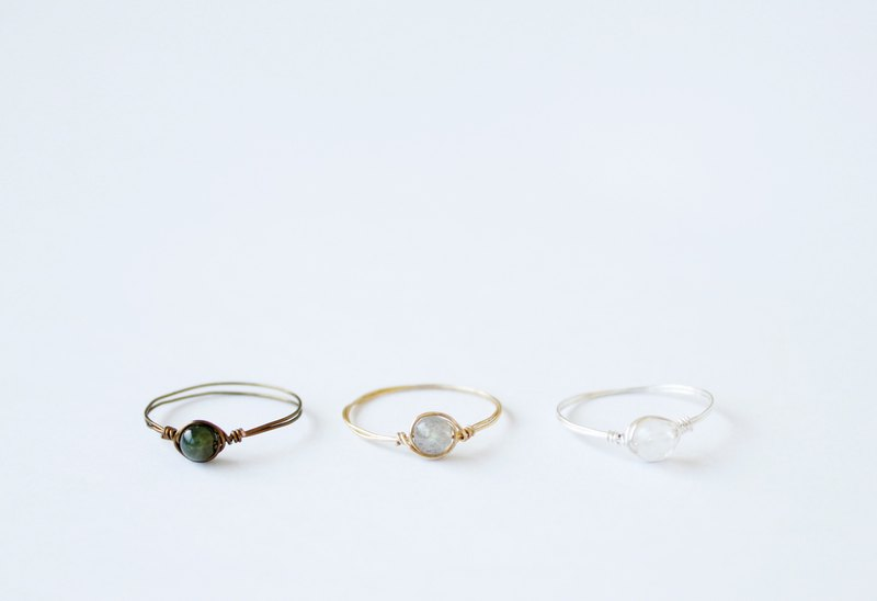 186c95d90 Super Fine small natural crystal copper rings group (a set of three pieces:  Moonstone / labradorite / tourmaline <tourmaline>) Simple