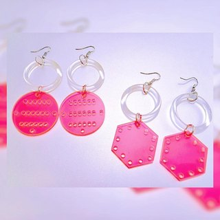 💿 fluorescent powder geometric acrylic earrings 💿