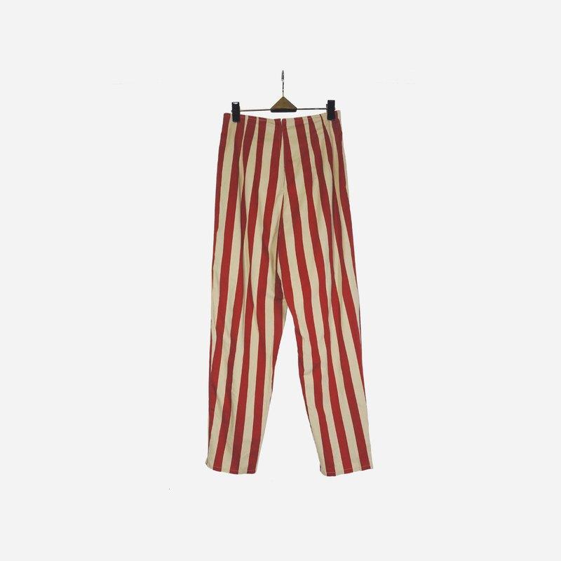 脫臼古著 / 紅白直線條長褲 no.1006 vintage