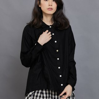 Oblique pleated double-neck long-sleeved shirt_carbon black diamond pattern_fair trade