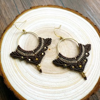 Misssheep-A50-Ethnic American South American Wavy Braided Brass Bead Earrings (with Ear Clips)