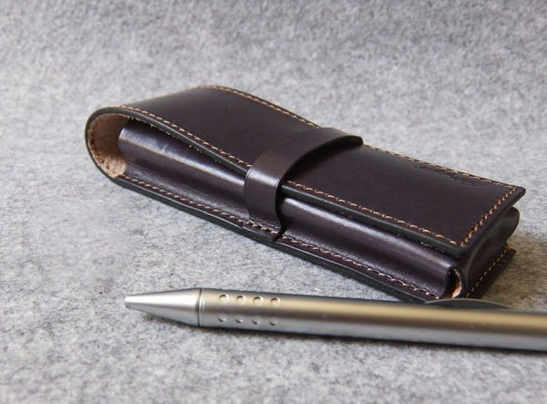 YOURS leather pencil case 3 in gray-blue leather
