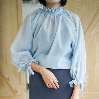 Heavy Recommended Blue | Caribbean French Vintage Lantern Sleeve Pleated Neckline Top Fairy
