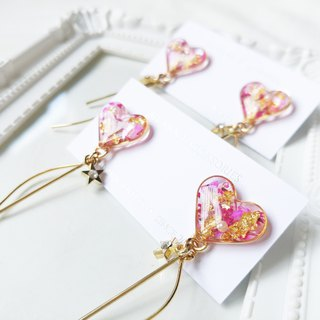 Time debris series - white Valentine's heart earrings / ear clip