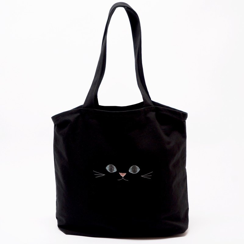 Durable and ideal for eco bags  Black cat tote bag with blue ears B Blue Eye