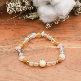 Venus | gold silk yellow hair crystal topaz moonstone natural stone brass bracelet