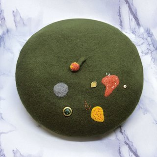 【Shell art】 100% pure wool felt berets (irregular olive green)