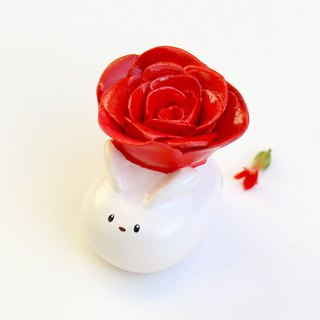 Handmade rose rabbit  of clay doll