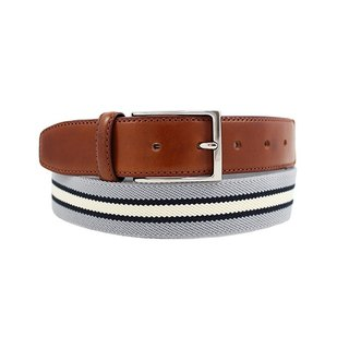 LAPELI │ Belgian elastic fabric belt - three-color stripes gray