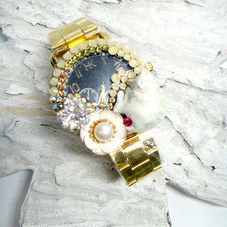 TIMBEE LO Cat Decorative Watch Handmade Customized Cat White Jewelry Gemstone Pearl Crystal