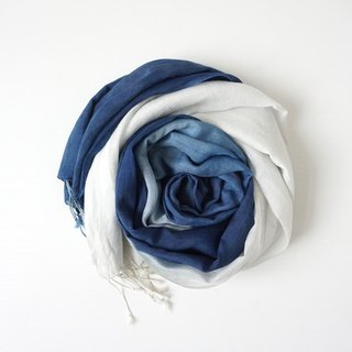 S.A x Ocean, Indigo dyed Handmade Natural Pattern Silk/Cotton Scarf