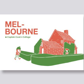 little ship Travel Illustration Postcard Melbourne Series │Captain Cook`s Cottage