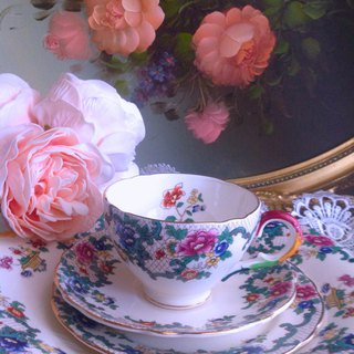 British bone china hand painted 1920 ROYAL CAULDON antique flower teacup, coffee cup two-piece
