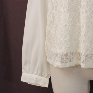 Vintage Japanese Elegant Lace Panel White Long Sleeve Vintage Shirt Vintage Blouse