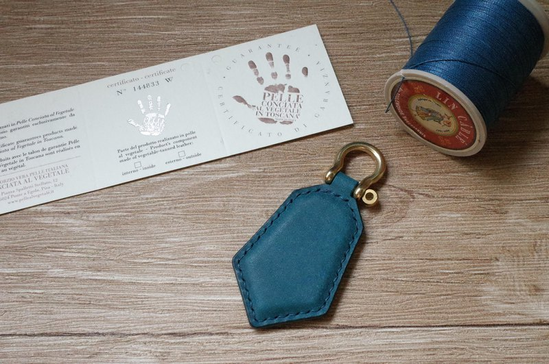 pueblo磨砂皮 悠遊卡晶片吊飾-鑰匙圈款-藍色