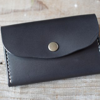 Hand sewn leather business card holder (card case) black