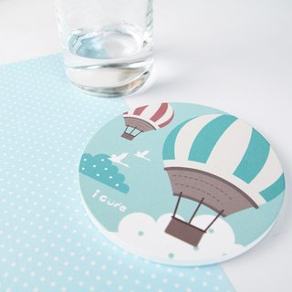 Icure water coaster -i magic-H1. Minimalist life - hot air balloon sky blue