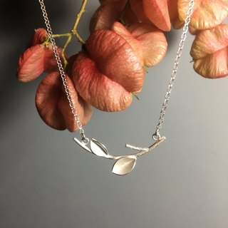 Pure silver decorative leaf branches tree necklace