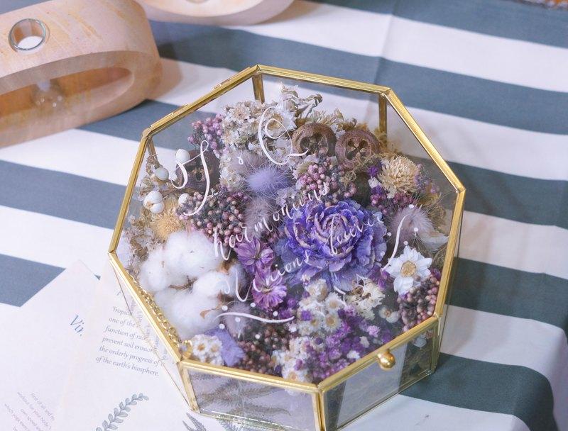 乾燥花擴香水晶盒 (可加文字在玻璃面上)