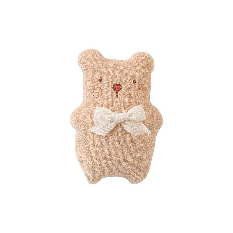 【Amorosa Mamma有機棉】嬰兒安撫娃娃搖鈴 (咖啡熊)