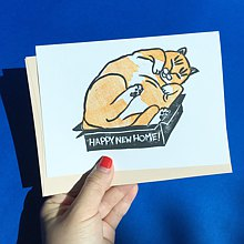Hand-printed card - Happy new home - cat in a box card