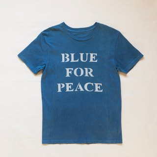 Indigo dyed 藍染 organic cotton - BLUE FOR PEACE TEE