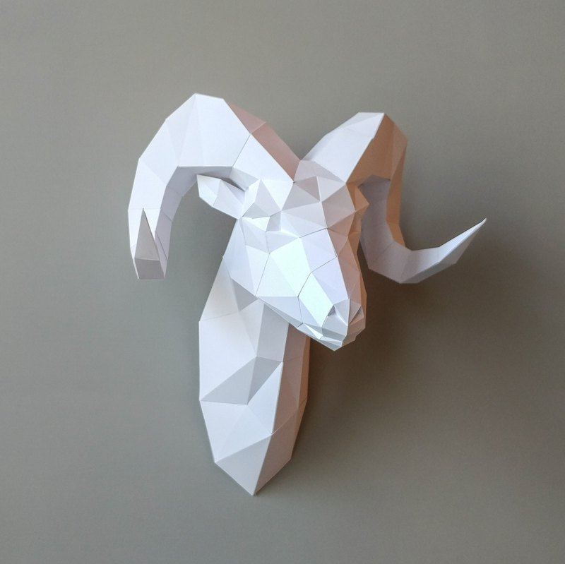 3D paper model _ sheep head wall decoration Goat_DIY Kits_ hand combination