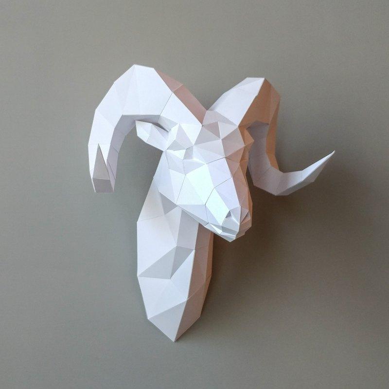 3d paper model sheep head wall decoration goat diy kits hand