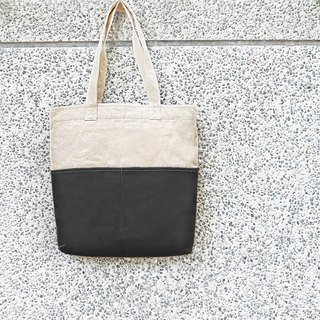 Thick canvas color matching double pocket tote (shoulder/handbag) - Dark grey