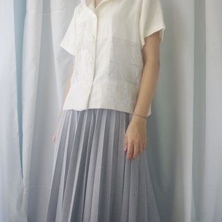 Design hand-made - white cotton and linen stitching translucent national collar shirt