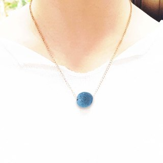 Titanium Steel Rose Gold Diffuser Necklace - Blue 16mm Big Bead Aroma Rock