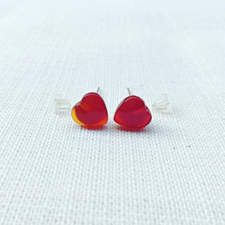 Limited romantic complete heart gemstone stud earrings