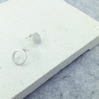 [Department] to work round earrings circle earring - Silver -