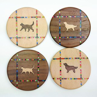 Walking cat, golden retriever [color mosaic street] - wooden handmade coasters