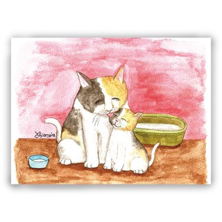 Hand-painted illustration universal card / postcard / card / illustration card - cat mother and daughter