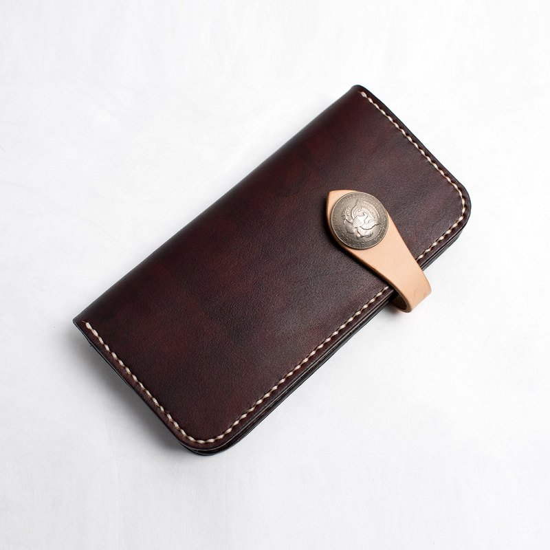 Tangential handmade leather hit the color discount two long wallet