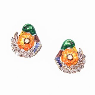 珐琅 series 珐琅 mallard flowers earrings pre-order handmade jewelry jewelry