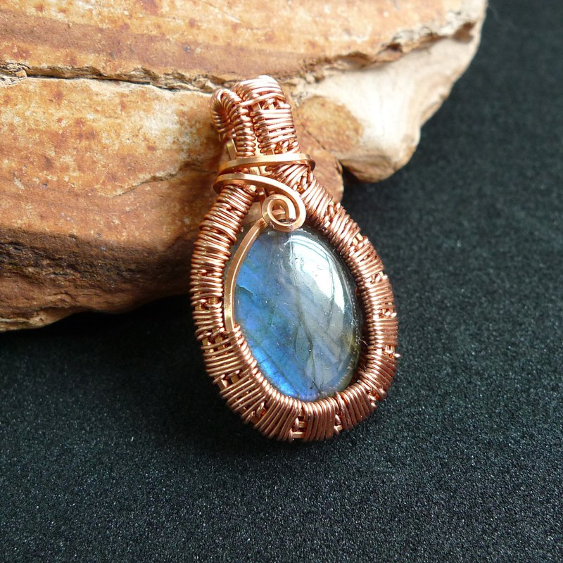 Misssheep-WW02 Handmade Metal Wire Labradorite Pendant Necklace